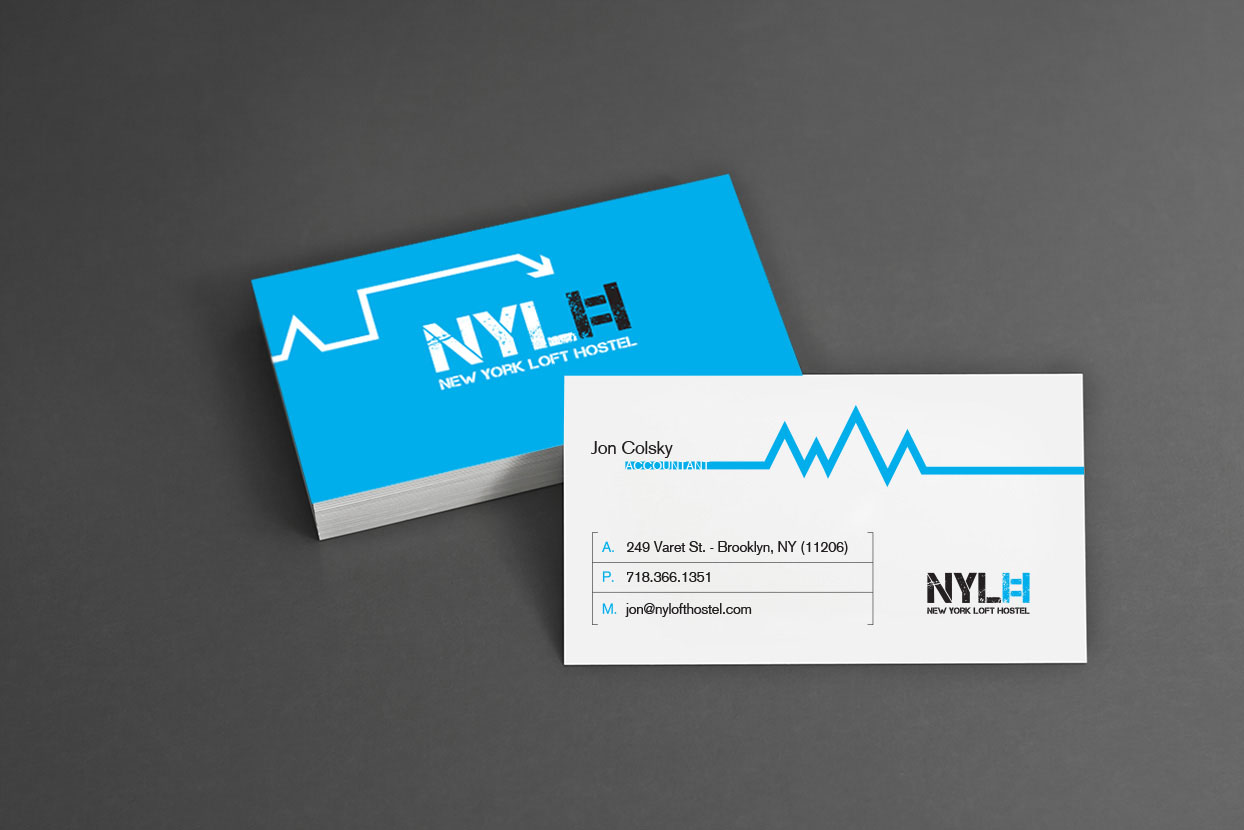 new york loft hostel-blue business cards
