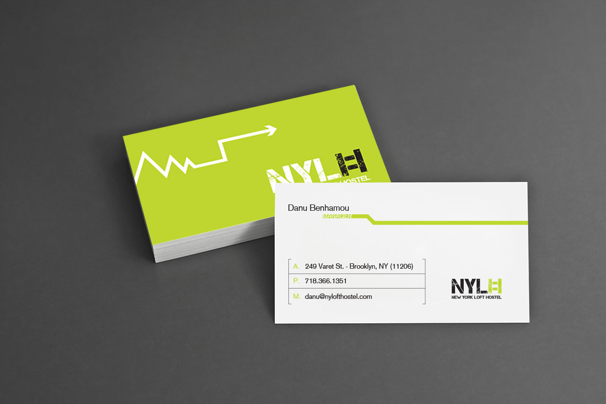 new york loft hostel-green business cards