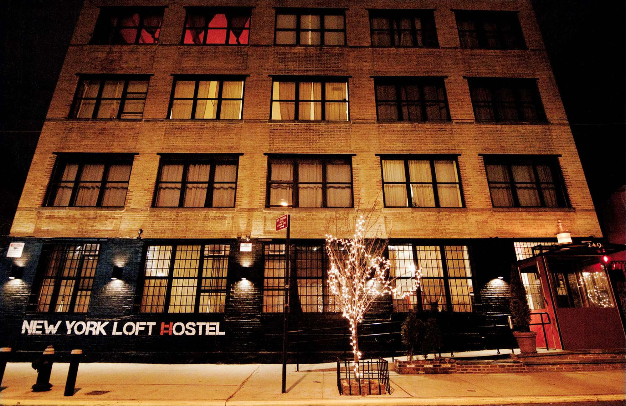 new york loft hostel night