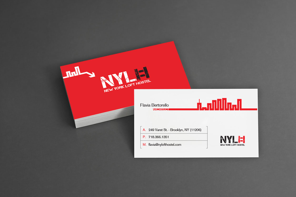 new york loft hostel-red business cards